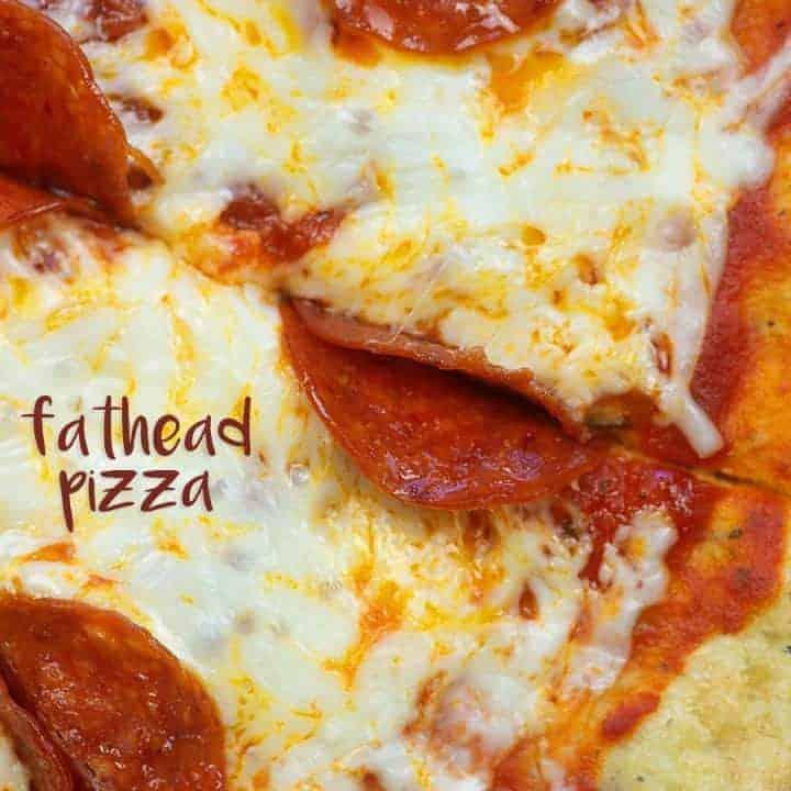 A close up of pepperoni fathead pizza