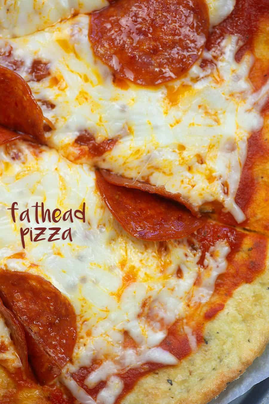 Fathead Pizza - it's low carb, keto friendly, and tastes amazing! #keto #lchf #lowcarb #pizza