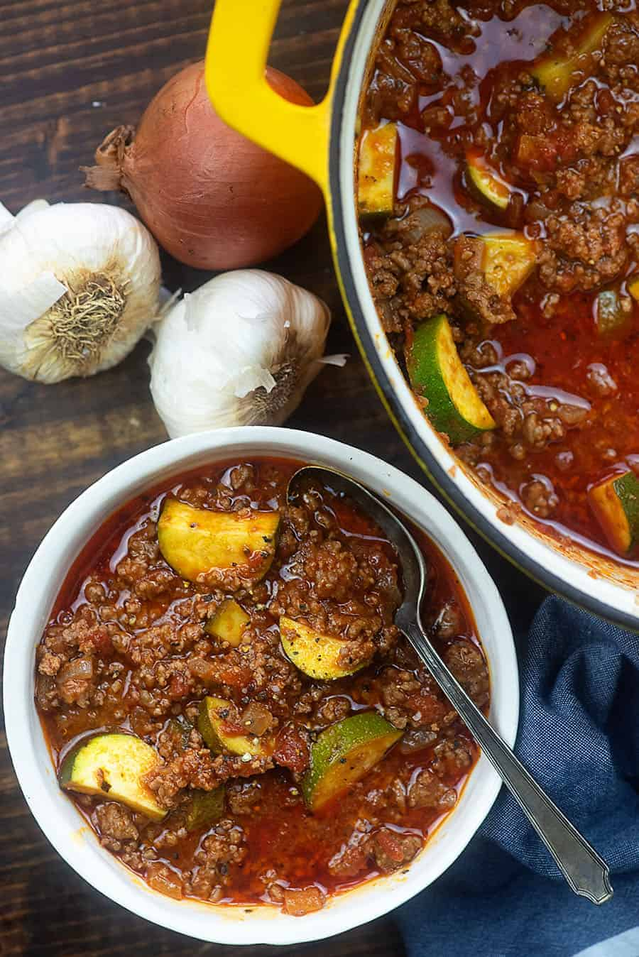 Low Carb Goulash - skip the macroni and use zucchini in this simple recipe instead! #lowcarb #goulash #keto #recipe