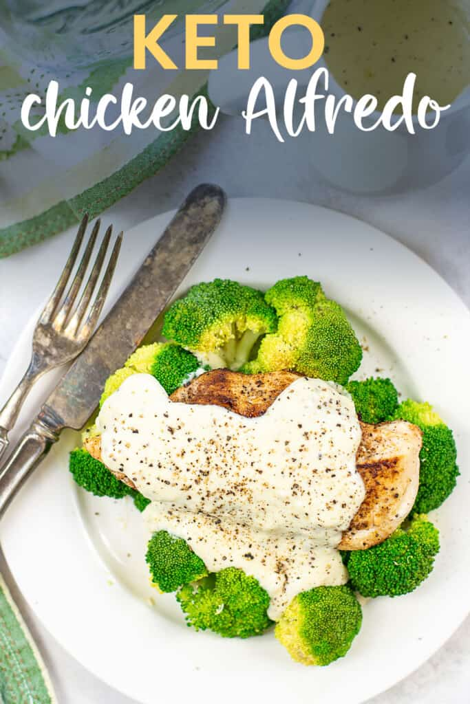 low carb Alfredo sauce over chicken and broccoli.