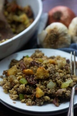 A dish is filled with food, with Stuffing