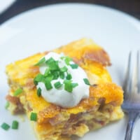 Low Carb Breakfast Casserole with ham!! Packed with protein and flavor, low in carbs! #lchf #keto #breakfast #recipes