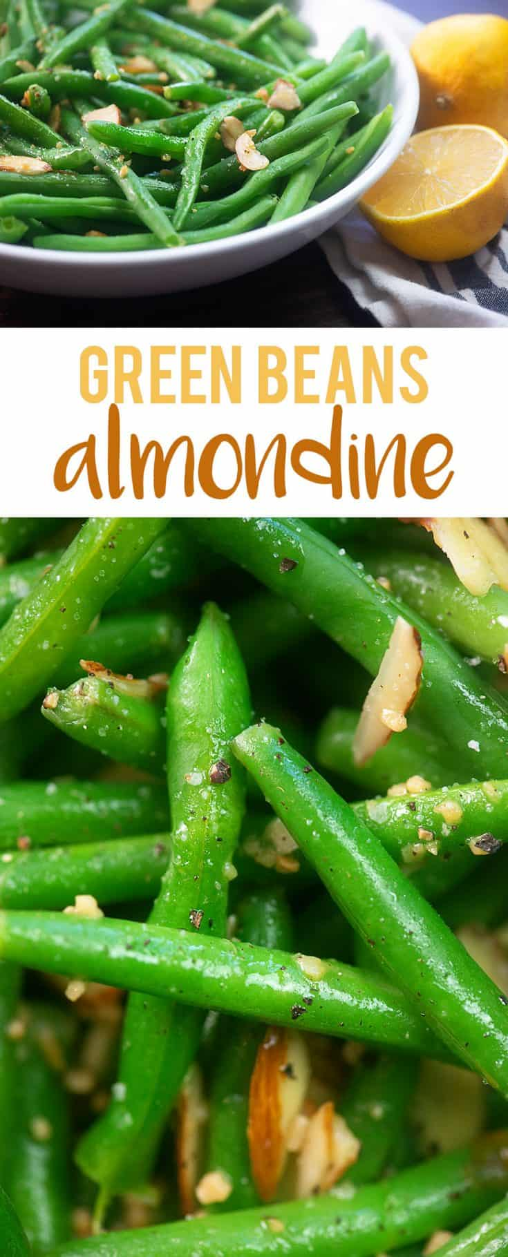 Low carb green beans almondine - fresh green beans cooked topped with a buttery lemon almond sauce! #greenbeans #lowcarb #keto #recipe