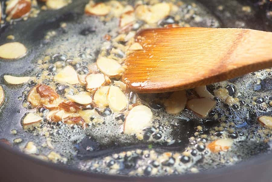 butter and almonds in skillet