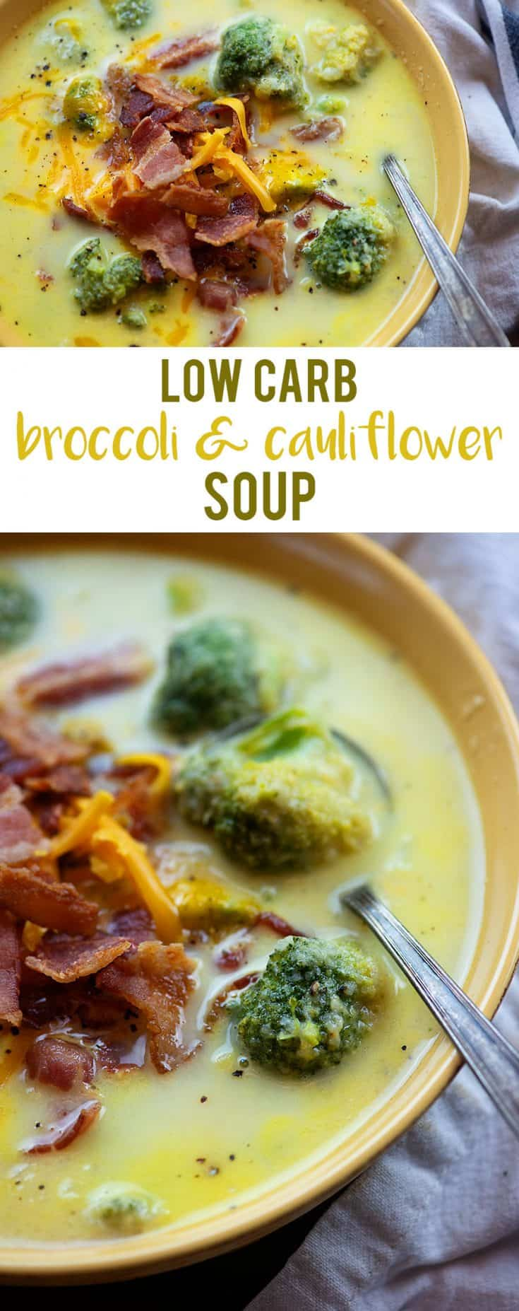 Broccoli Cauliflower Soup! Low carb, creamy, and cheesy! #recipe #lowcarb #keto #soup