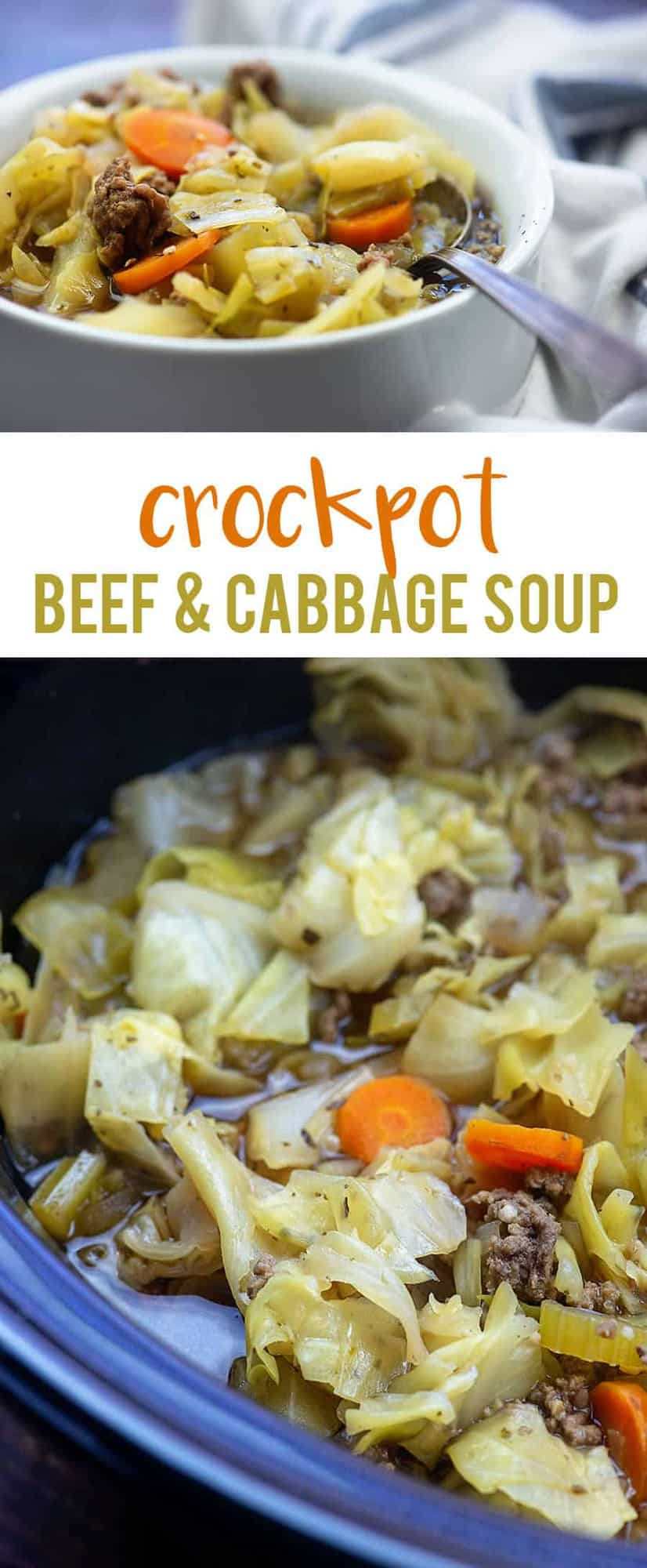 Crockpot Cabbage Soup with beef! It's low carb with just 5 net carbs per serving! #lowcarb #cabbage #soup #crockpot