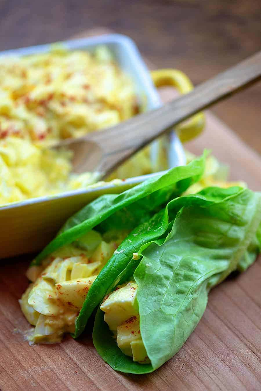 egg salad in a lettuce wrap