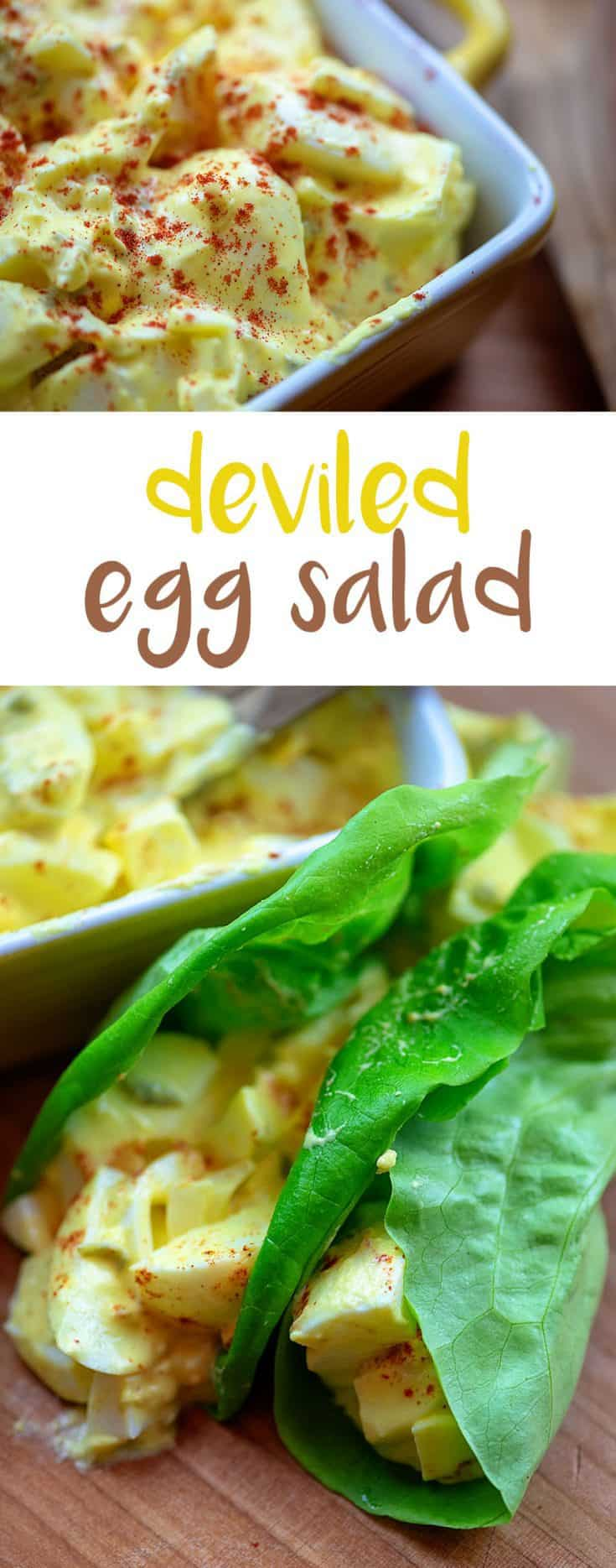 Deviled Egg Salad - low carb, keto friendly, and makes the perfect lunch! #lowcarb #eggsalad #lunchrecipe