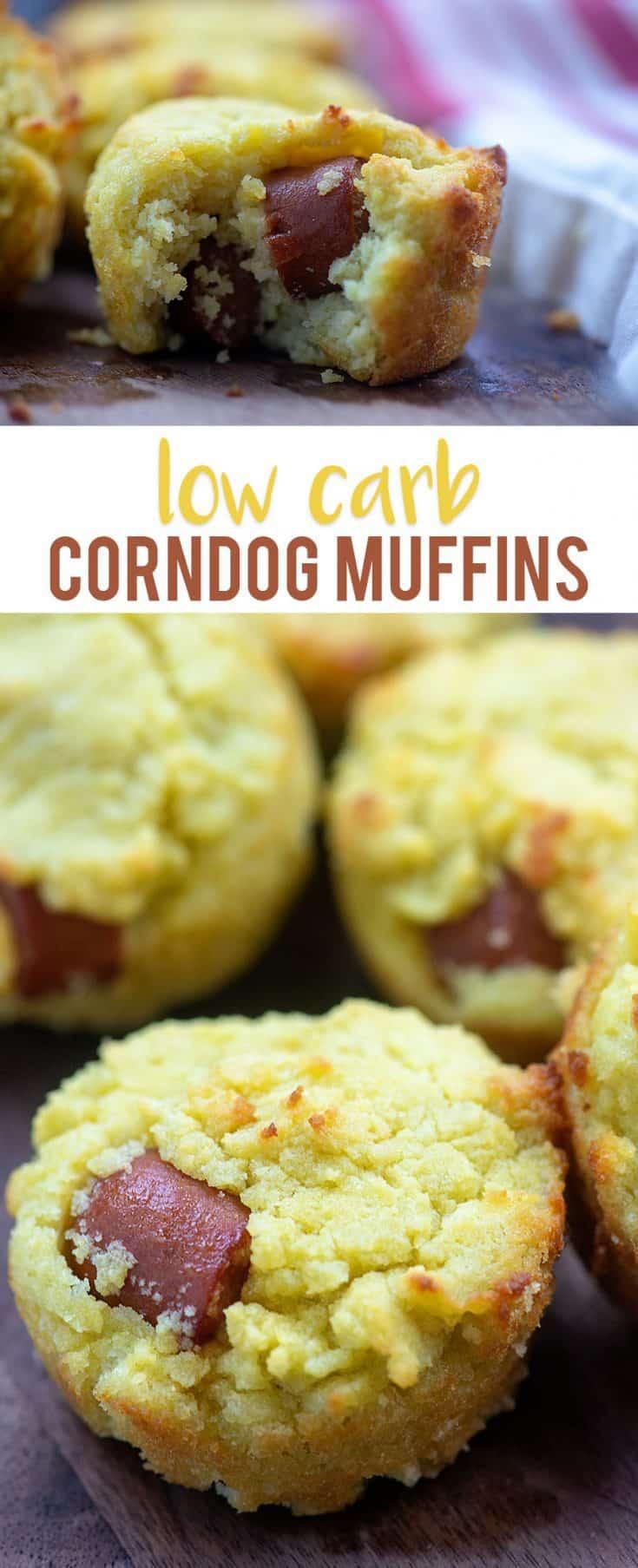 Low carb corn dog muffins! Tastes just like cornbread, but made with ZERO corn! #keto #lowcarb #corndog