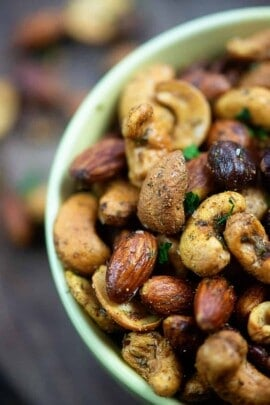 A plate of food, with Nut