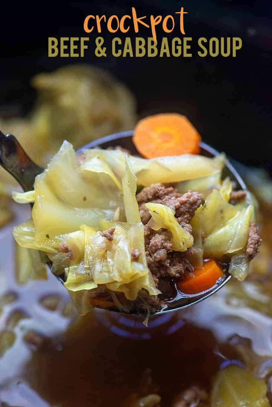 Crockpot Cabbage Soup with beef! It's low carb with just 3 net carbs per serving! #lowcarb #cabbage #soup #crockpot