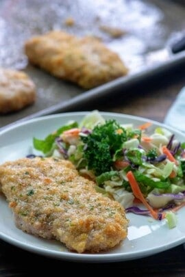 Baked Pork Chops with low carb breading!