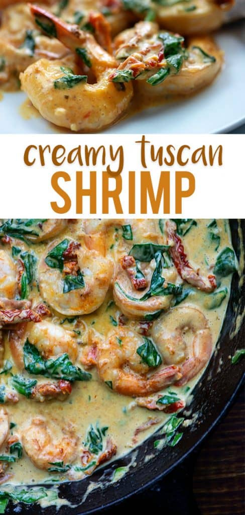 Creamy Tuscan Shrimp! Ready in about 15 minutes and bursting with flavor. Plus it's low carb and keto! #lowcarb #shrimp #keto