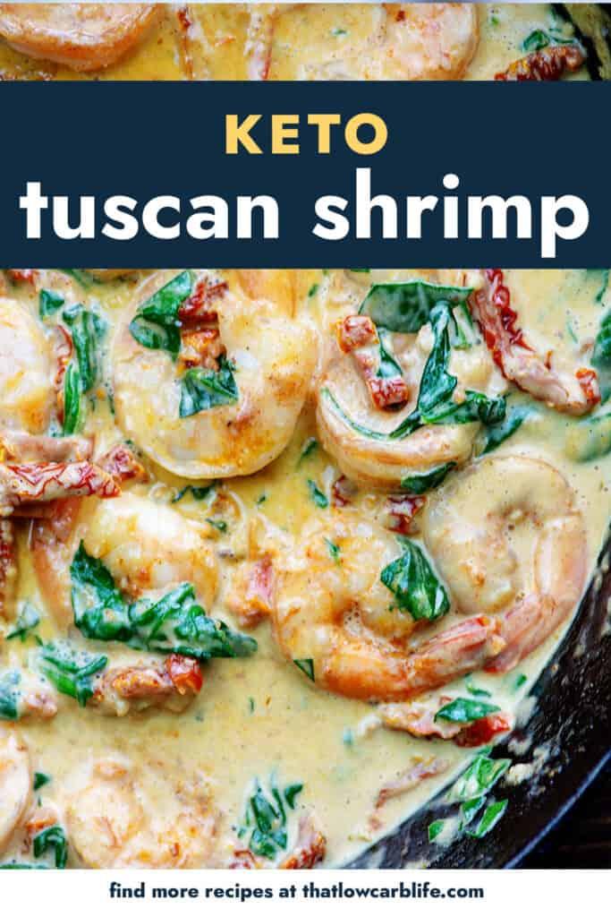 tuscan butter shrimp in cast iron skilet