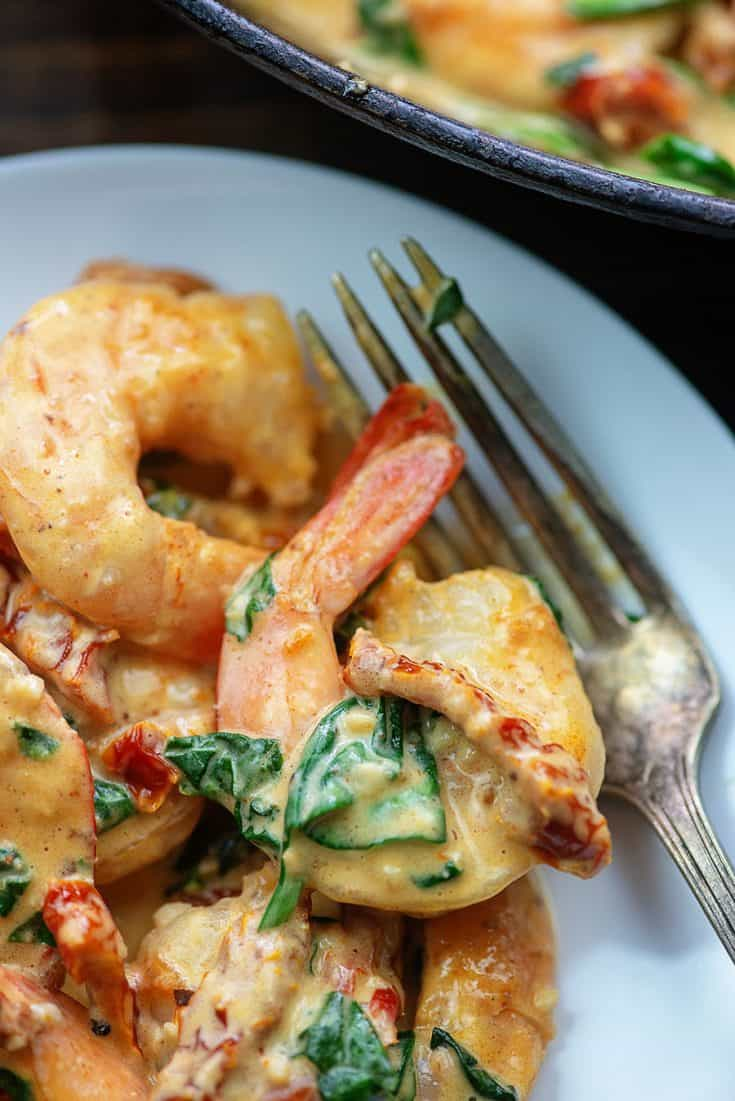 Creamy Tuscan Shrimp - ready in less than 15 minutes and it's low carb too! #keto #lowcarb #shrimp