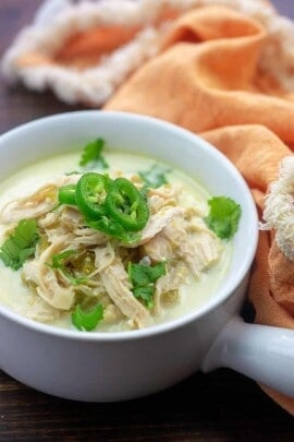 A bowl of soup, with Chicken