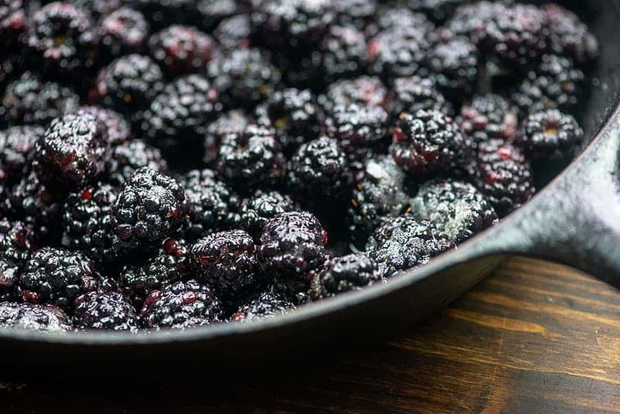 blackberries in cast iron skillet