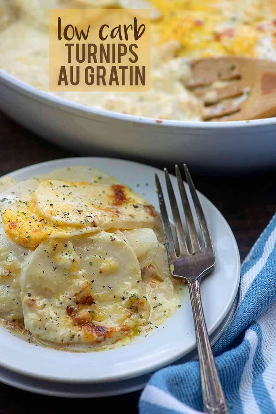 cheesy turnips recipe on white plate