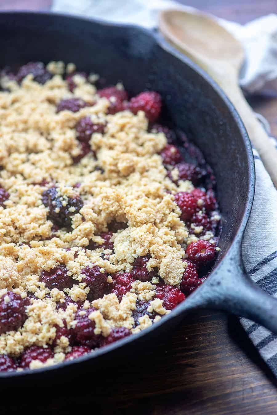Low carb and keto blackberry cobbler! The cobbler topping is so easy too! #cobbler #blackberry #lowcarb #keto