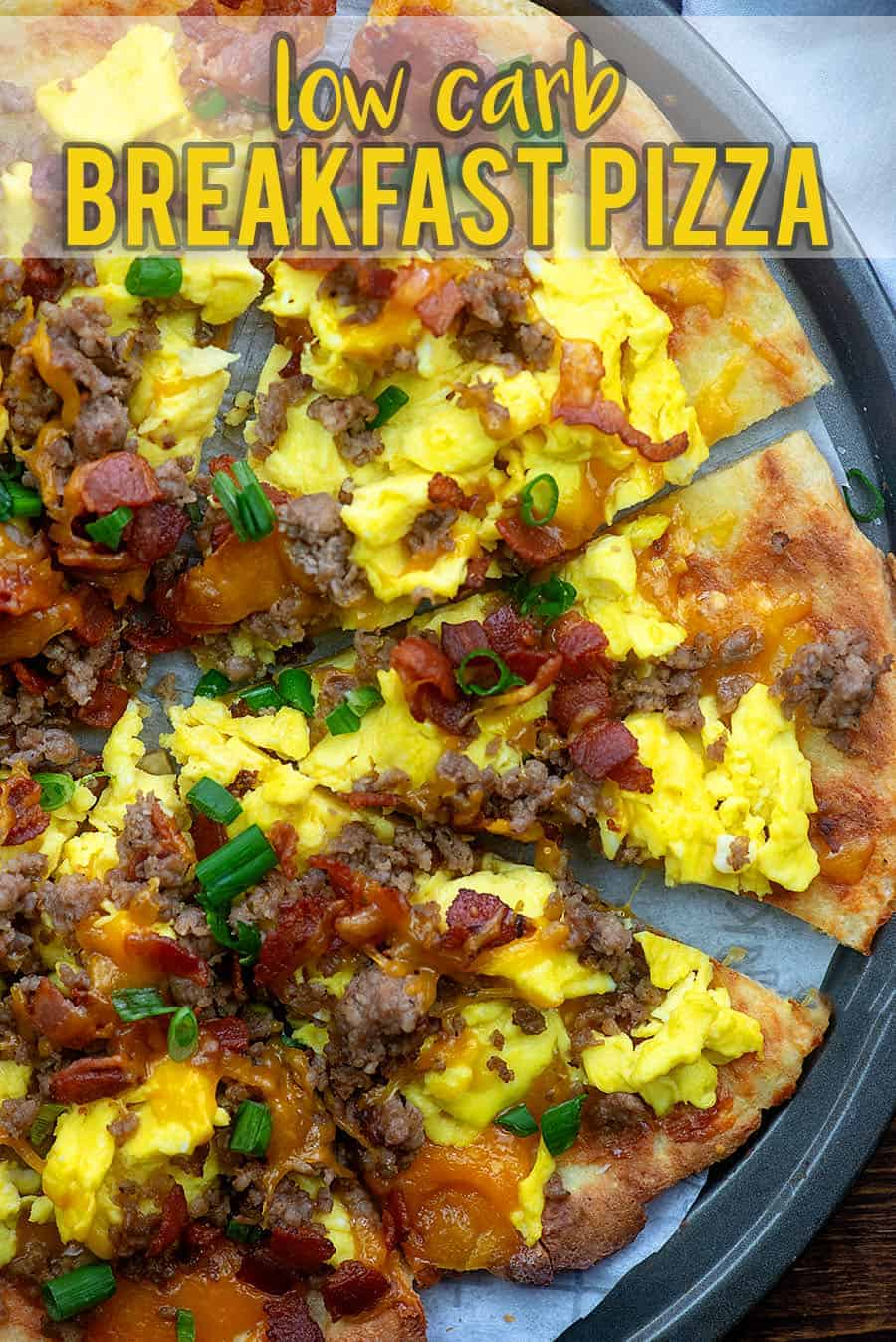This breakfast pizza is low carb, packed with protein, and perfect for a keto diet! #lowcarb #keto #breakfast