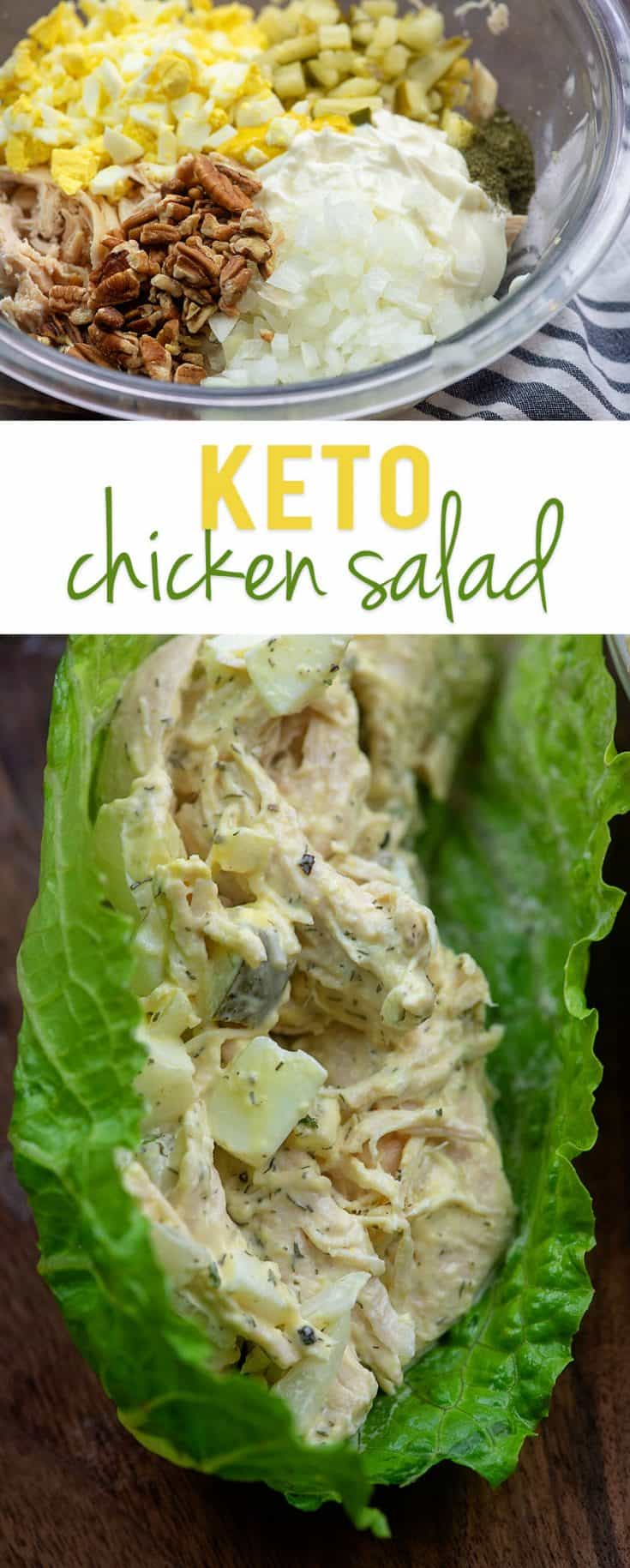 Keto chicken salad loaded up with lots of goodies for maximum flavor! #lowcarb #keto #chicken #recipe