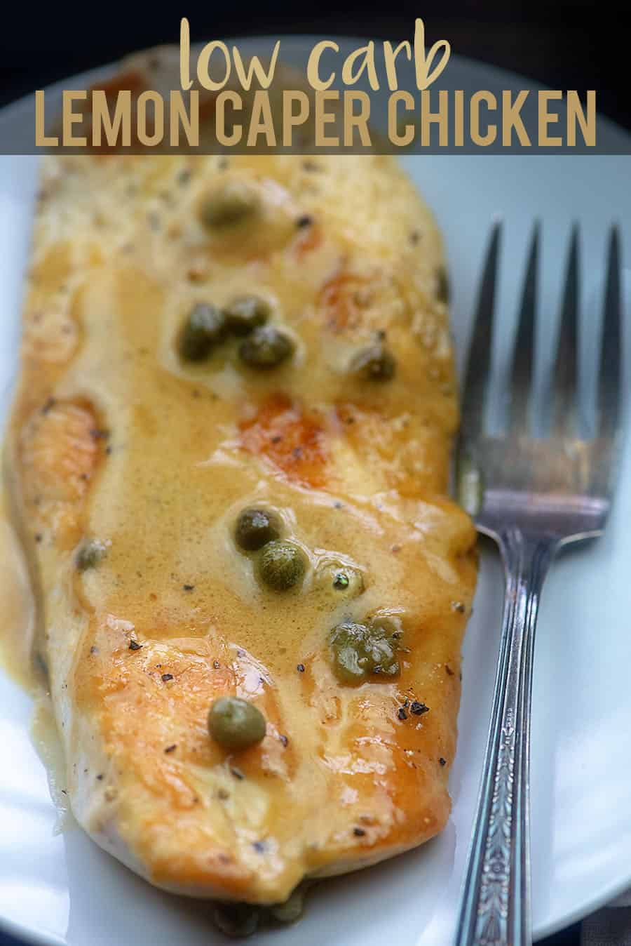 lemon caper chicken recipe on white plate