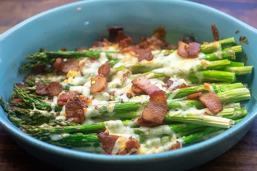 asparagus in blue dish.