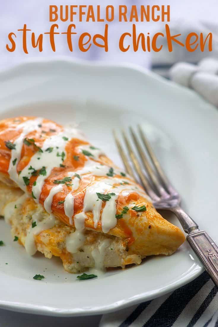 Buffalo Ranch Stuffed Chicken! Chicken breasts stuffed with cream cheese and ranch and drizzled with buffalo sauce. It's low carb too! #lowcarb #keto #buffalo #chicken