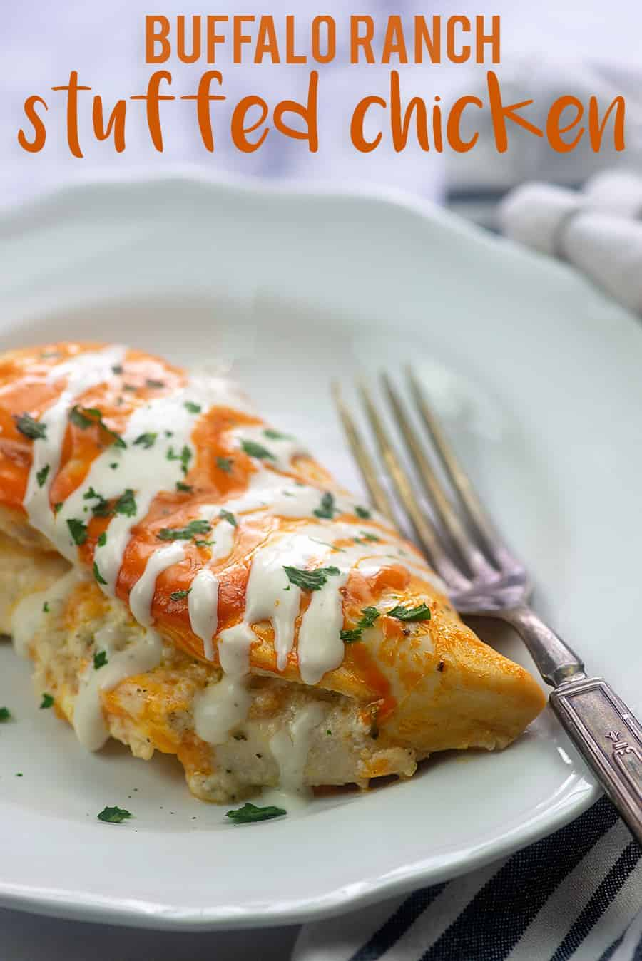 buffalo ranch chicken recipe on white plate