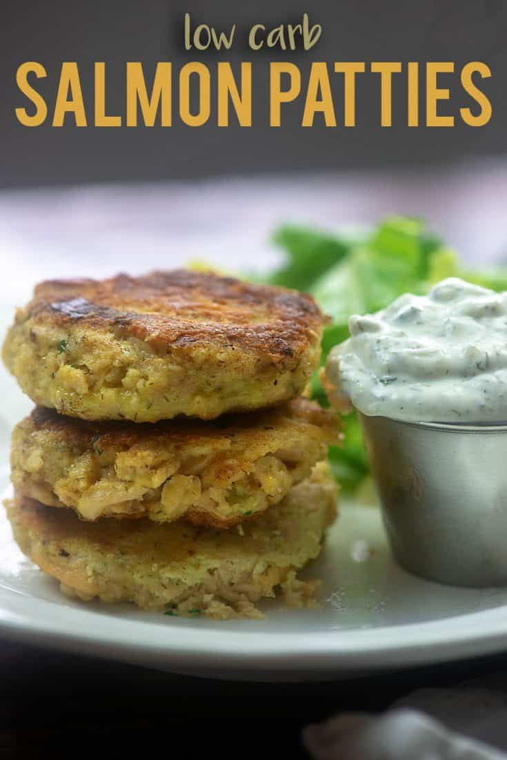 These low carb salmon patties are keto friendly and full of good stuff! We love to serve them with homemade tartar sauce! #recipe #lowcarb #keto #salmon