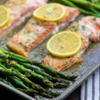 Garlic Butter Salmon and Asparagus
