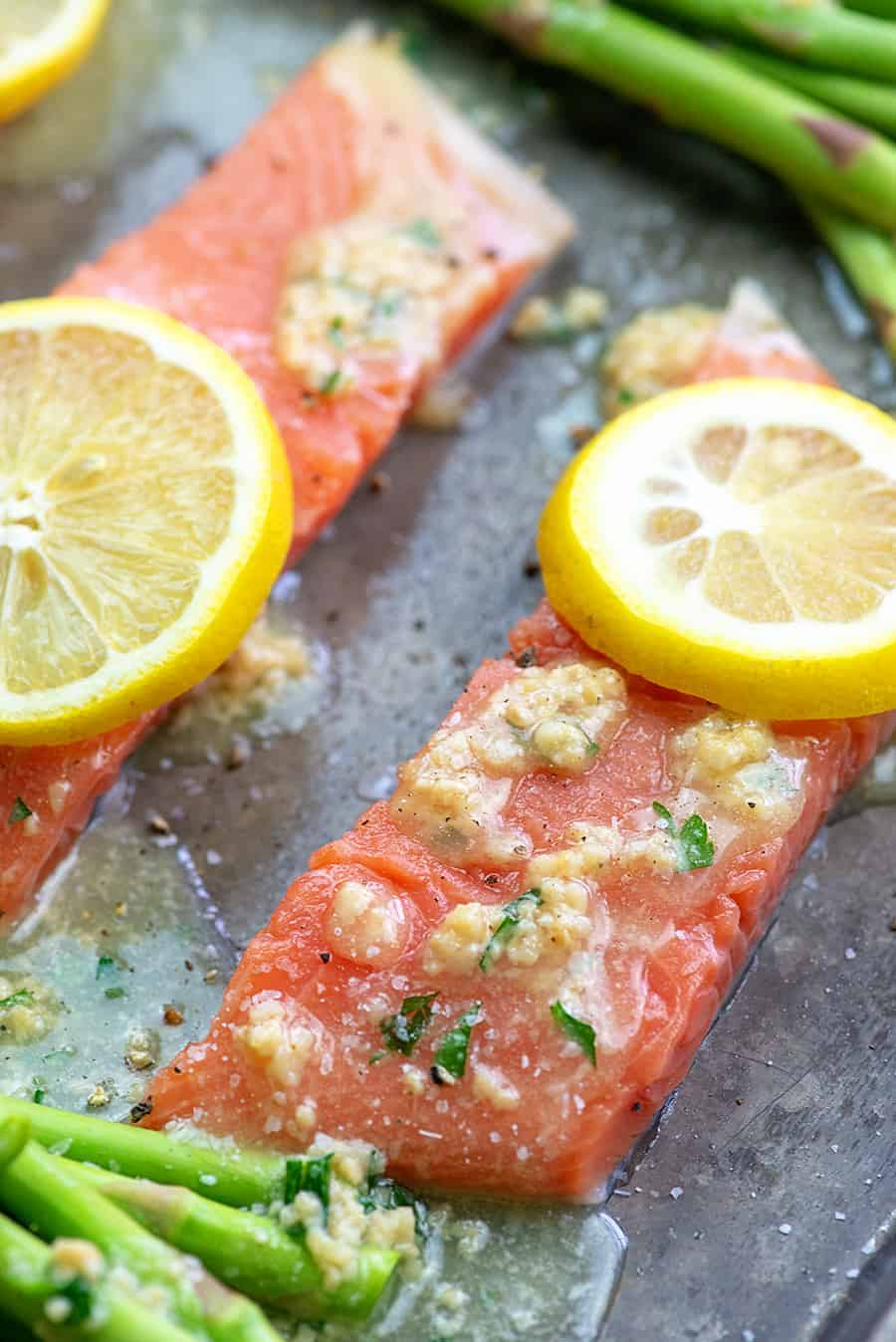 salmon drizzled with garlic butter.