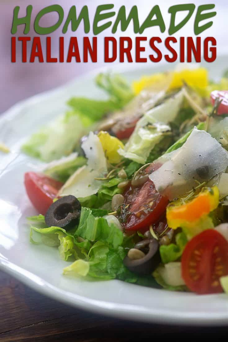 Homemade Italian Dressing! This dressing is naturally low carb and perfect for drizzling over your salad. Just a handful of ingredients too! #salad #recipe #lowcarb #keto