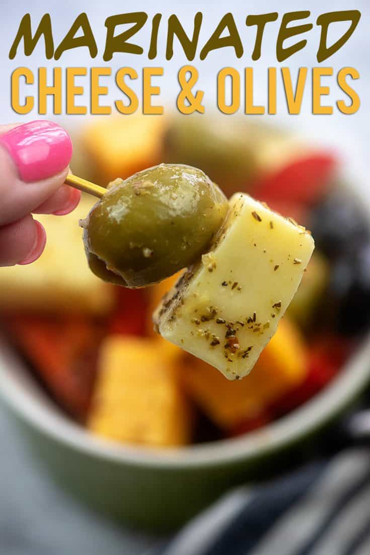 Marinated Cheese and Olives! The perfect simple appetizer or snack. #recipe #lowcarb #keto #cheese