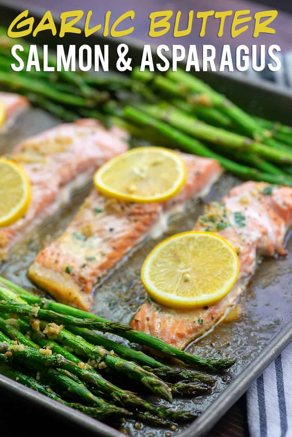 baked salmon and asparagus on sheet pan.