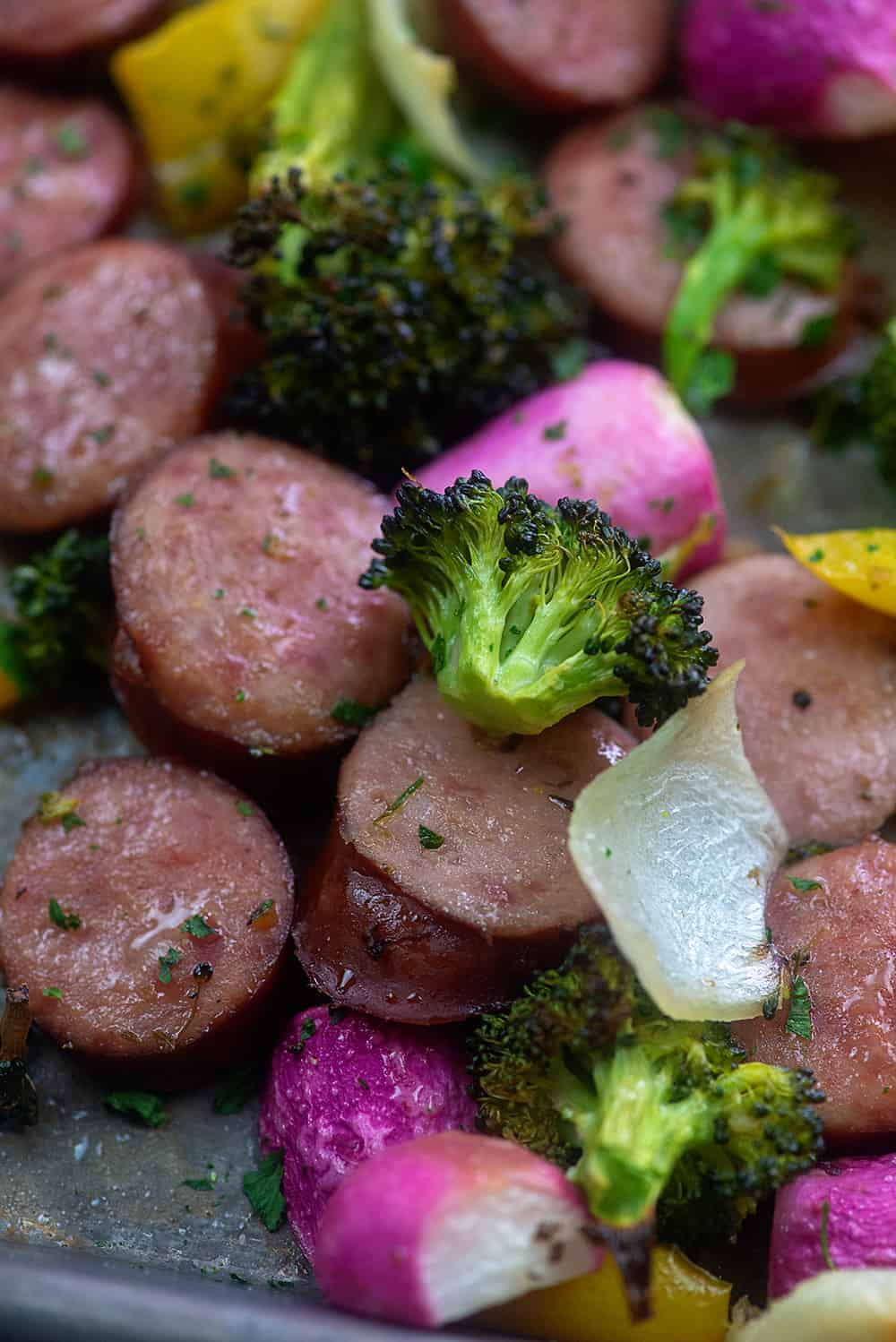smoked sausage sheet pan dinner.