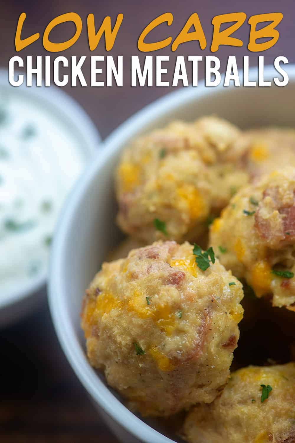 Cheddar Bacon Ranch Chicken Meatballs - they're low carb, keto friendly, and perfect for a quick dinner or fun appetizer. #keto #lowcarb #meatballs #recipes