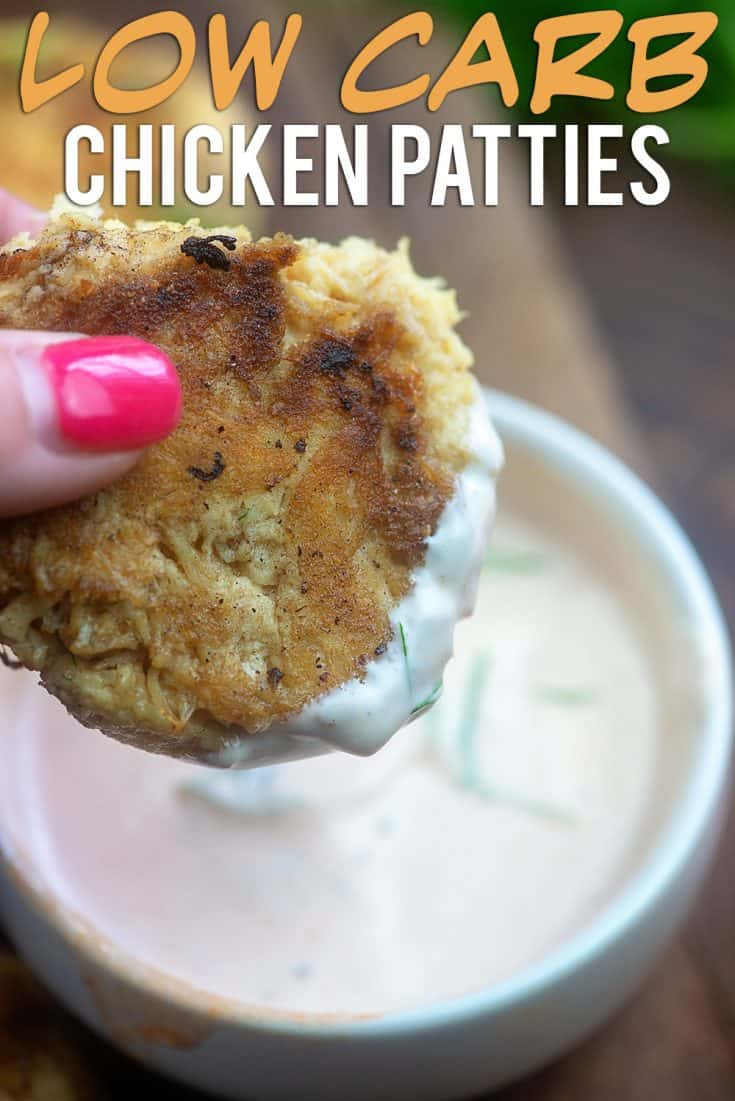Low Carb Chicken Patty Recipe - fried in butter and dipped in spicy ranch! #keto #lowcarb #chicken