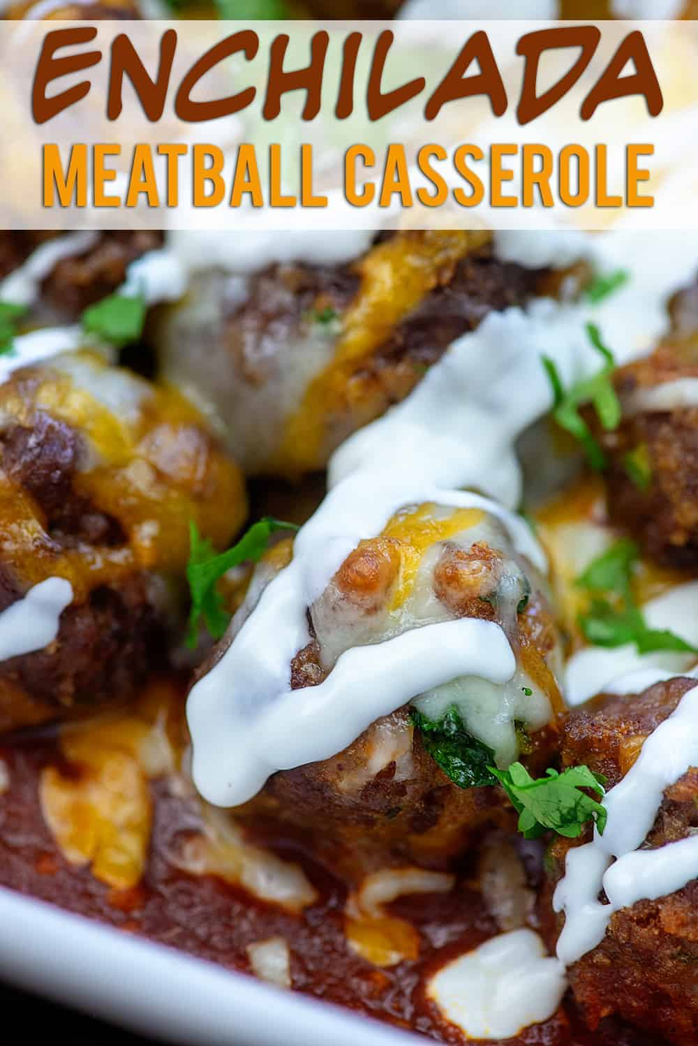 meatballs with sour cream drizzled on it