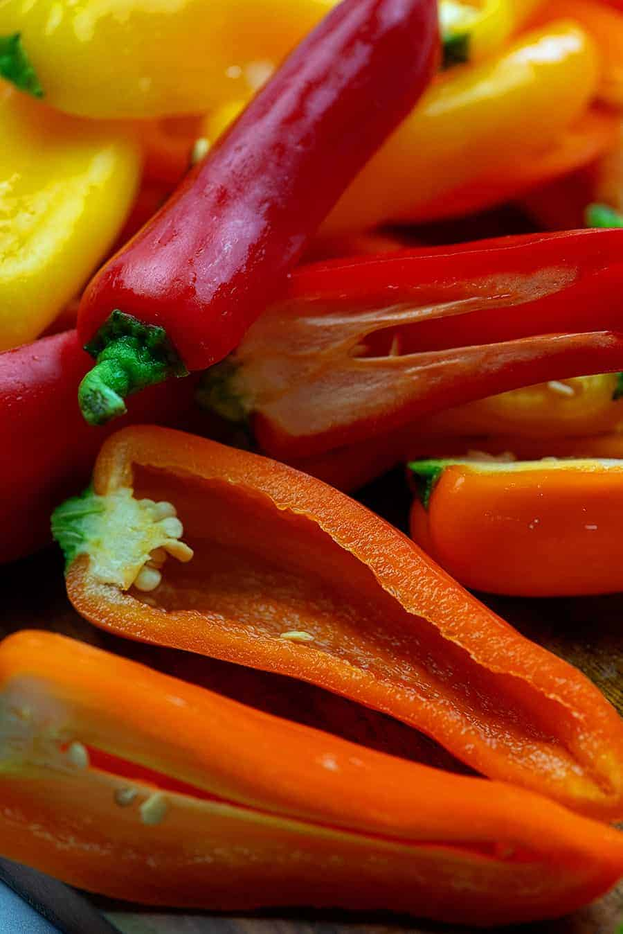sliced mini peppers for stuffing