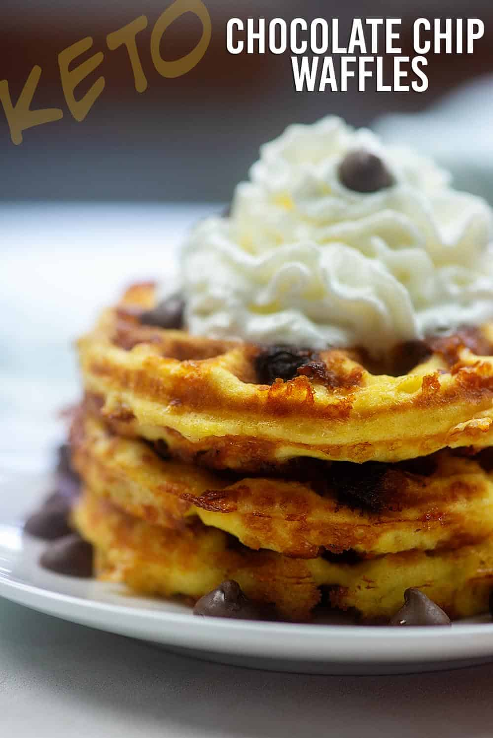 Keto Chocolate Chip Waffles! Just 3 net carbs per serving! #lowcarb #keto #chaffles #waffles