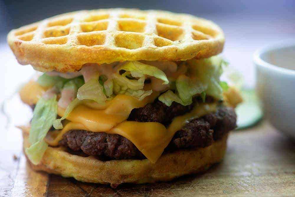 double cheeseburger with lettuce with chaffles as the bun