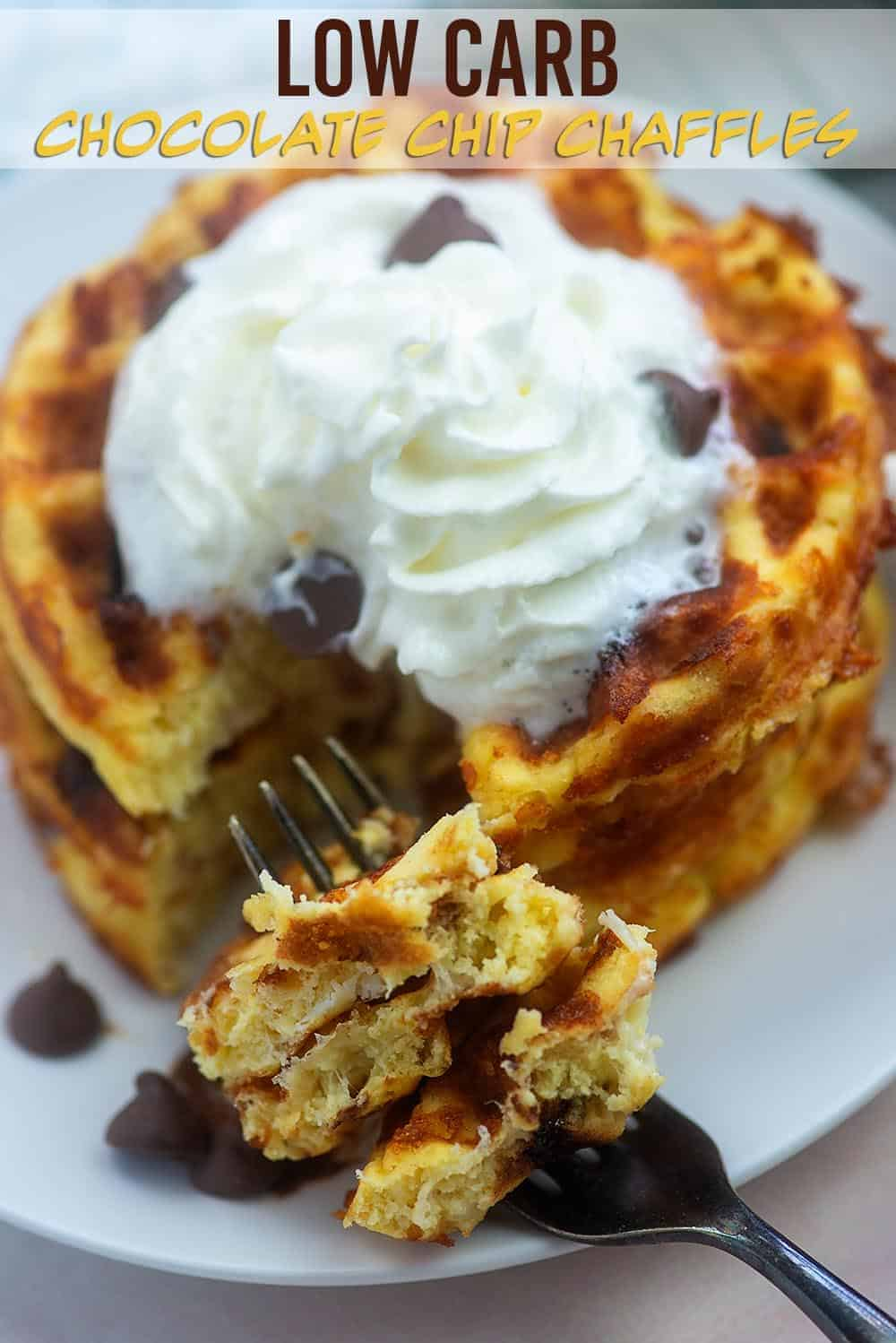 keto waffle with chocolate chips and whipped cream