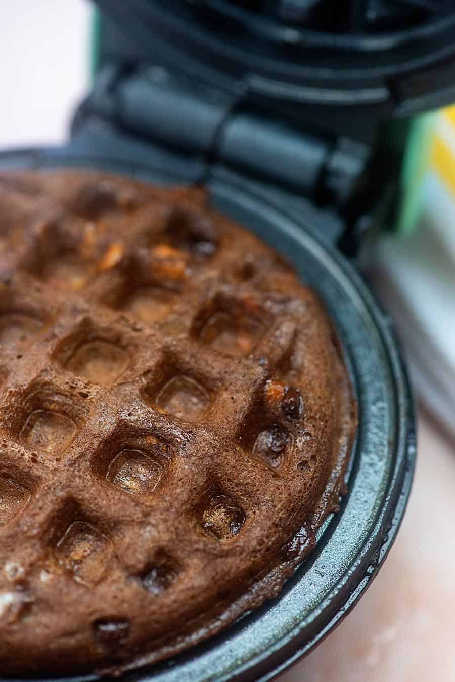 chocolate chaffles in waffle iron