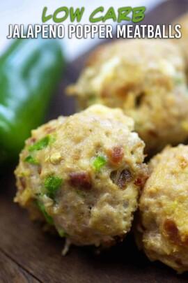 A close up of a couple jalapeno popper meatballs