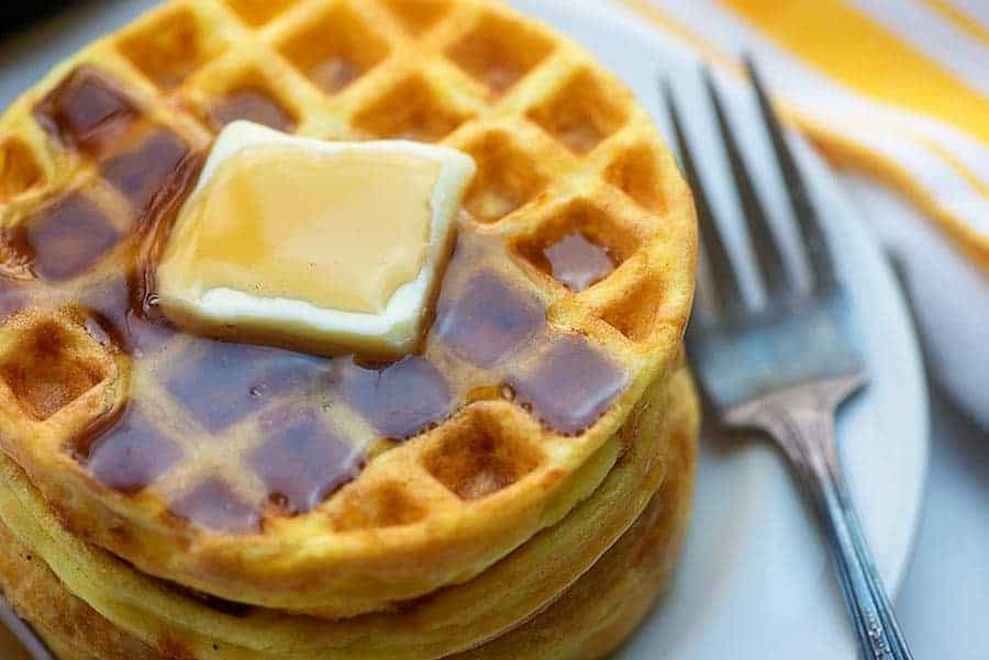 low carb waffles with butter and low carb syrup