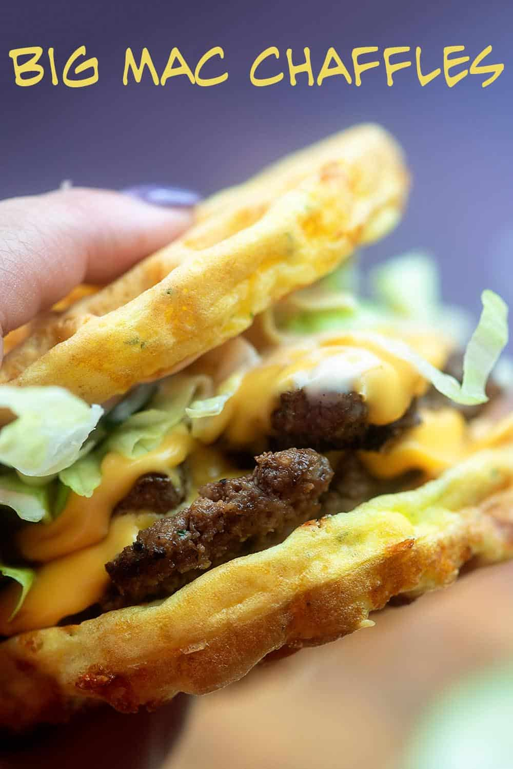 big mac chaffle in a women's hand