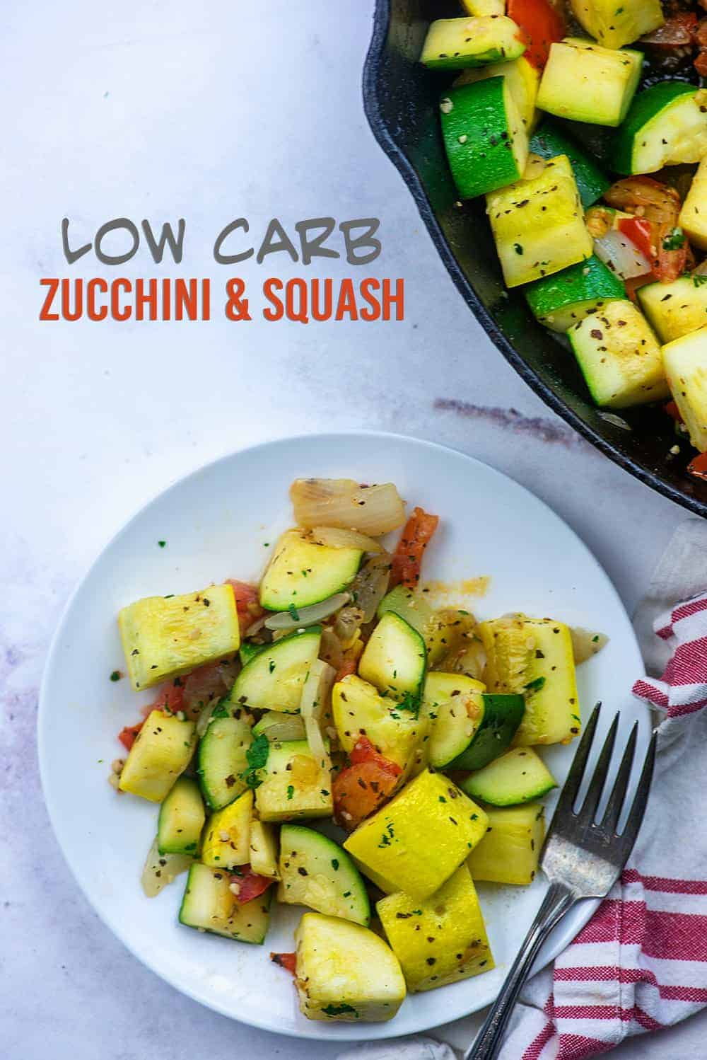 seasoned zucchini and squash on a white plate