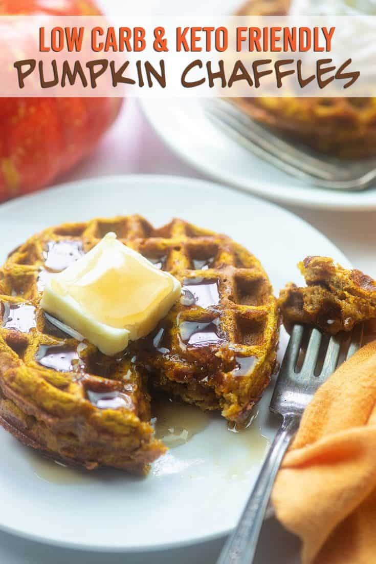 Low Carb Pumpkin Chaffles - just a handful of ingredients, grain and gluten free and SO GOOD! #lowcarb #keto #pumpkin #waffles