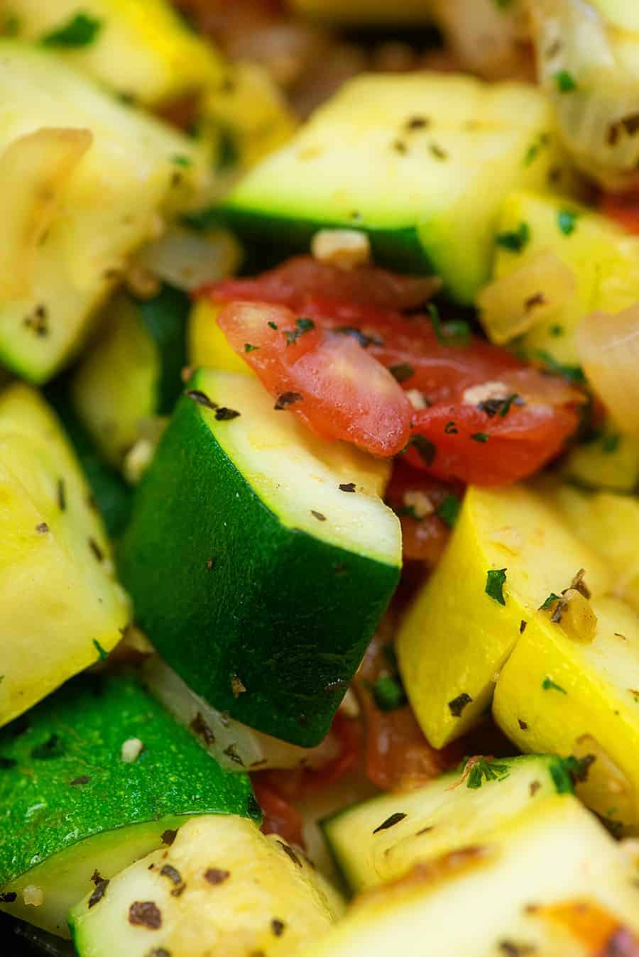 zucchini and tomatoes with seasoning